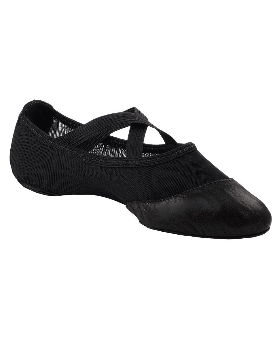 נעלי בלט רשת בשילוב עור וגומי תפור
