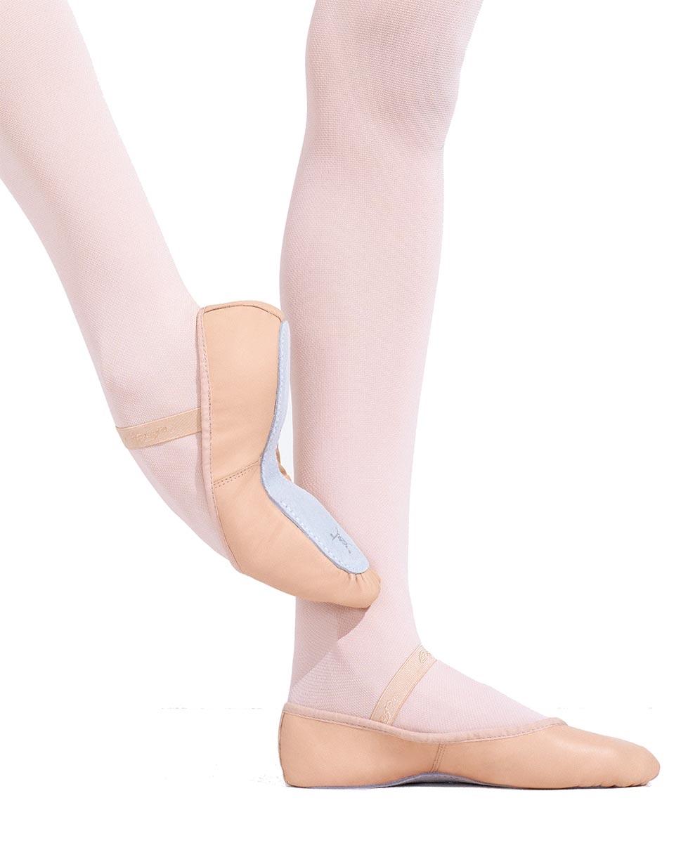 נעלי בלט מעור סוליה שלמה וגומי תפור