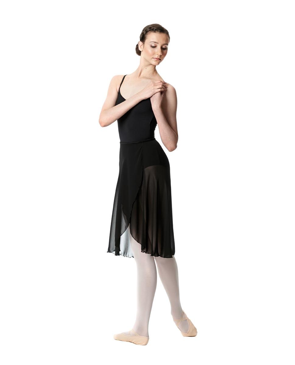 חצאית שיפון ארוכה לבלט בגזרת מעטפת