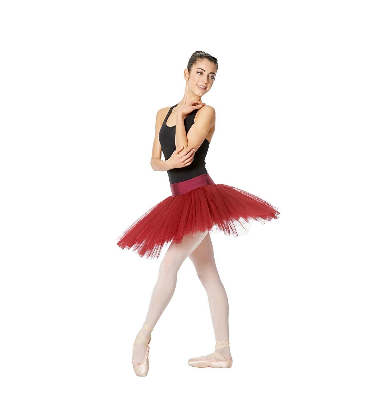 אדום חצאית טוטו Adelaide של Lulli משבע שכבות טול LUBTUP01