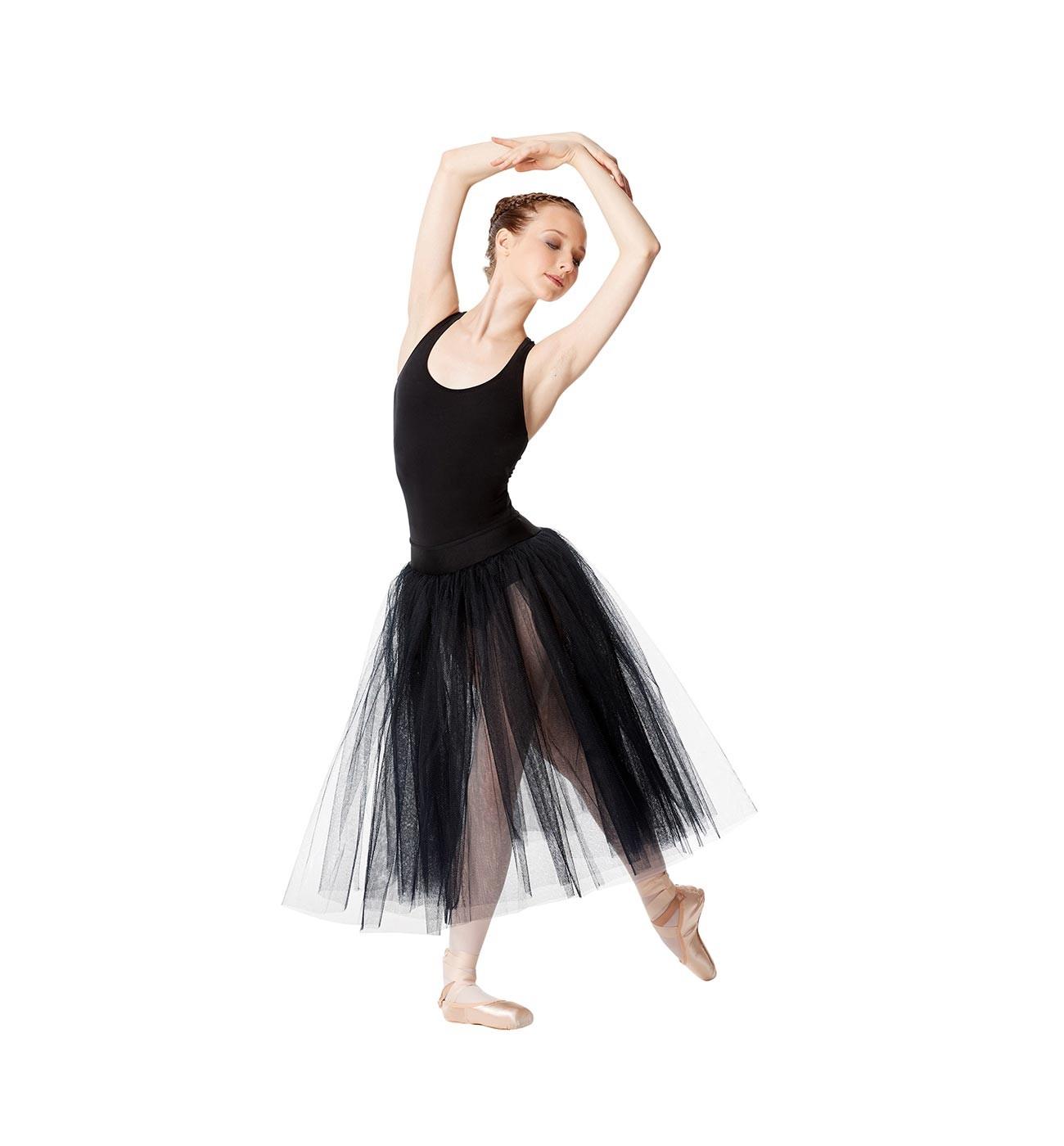 שחור חצאית טול רומנטית Aerin של Lulli שלוש שכבות LUBTURA