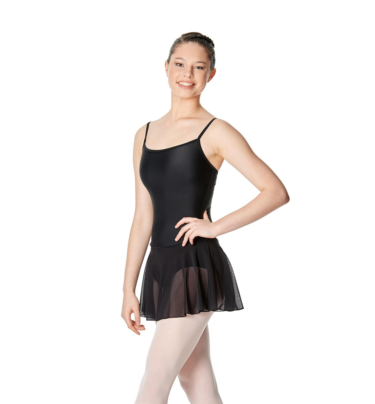 שחור שמלת בלט Lillian של Lulli כתפיות דקות וחצאית רשת LUB254