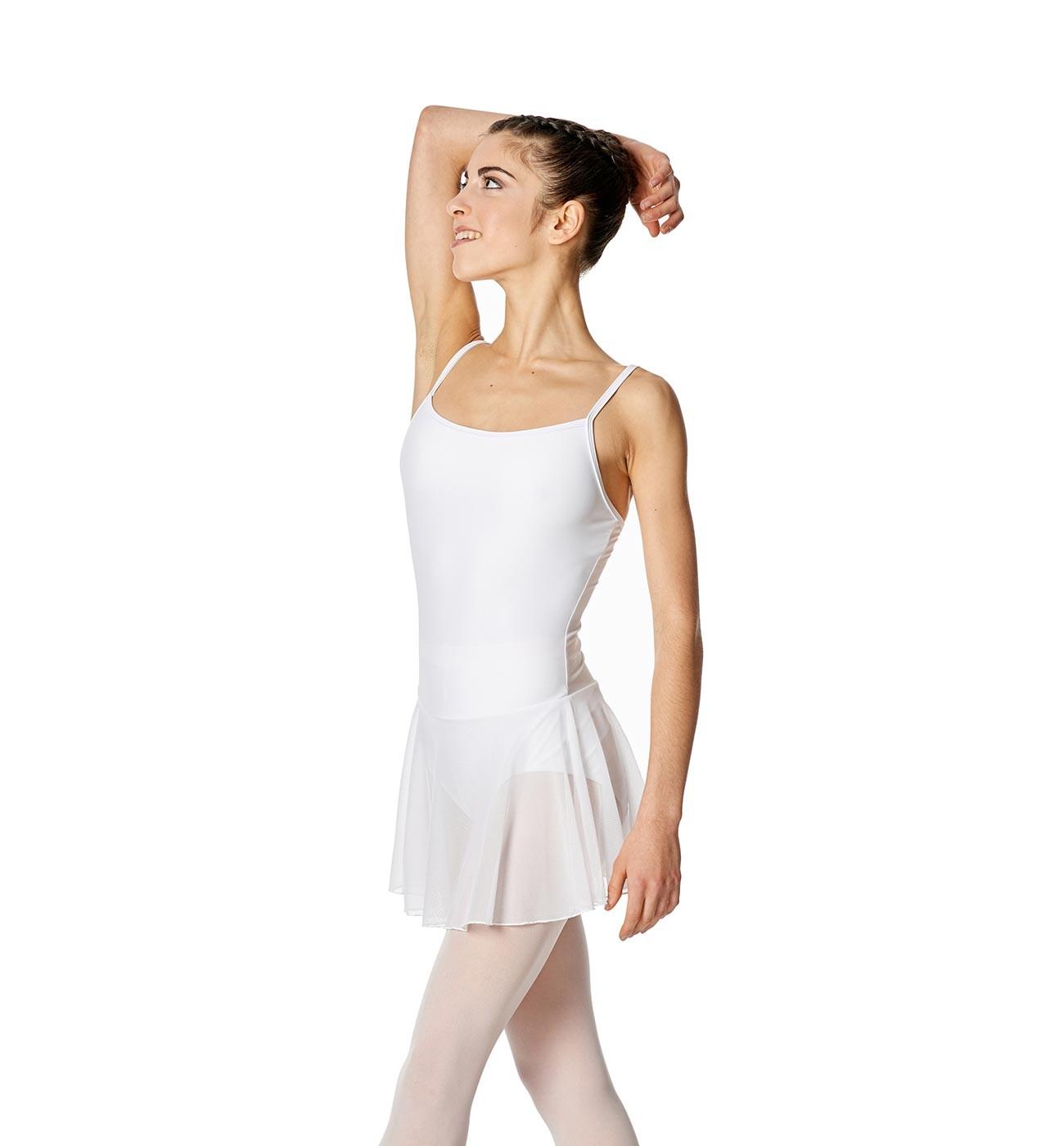 לבן שמלת בלט Lillian של Lulli כתפיות דקות וחצאית רשת LUB254