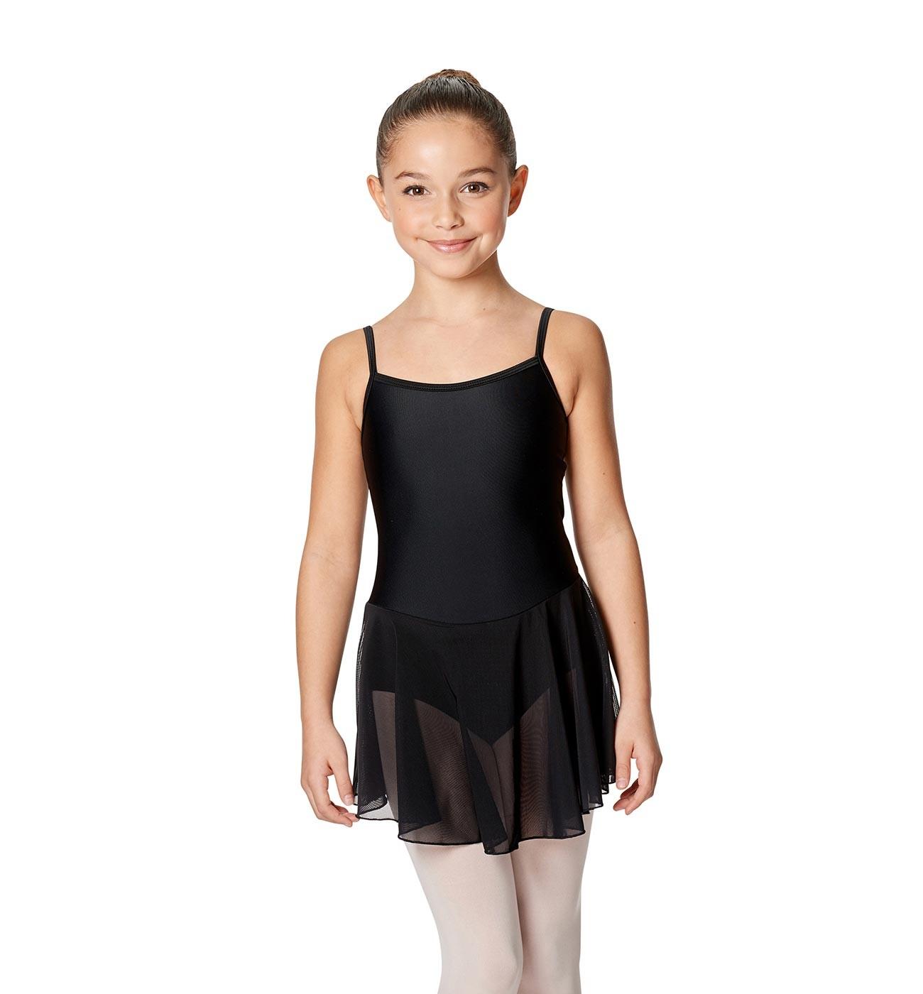 שחור שמלה לילדות Lillian של Lulli כתפיות דקות וחצאית LUB254C