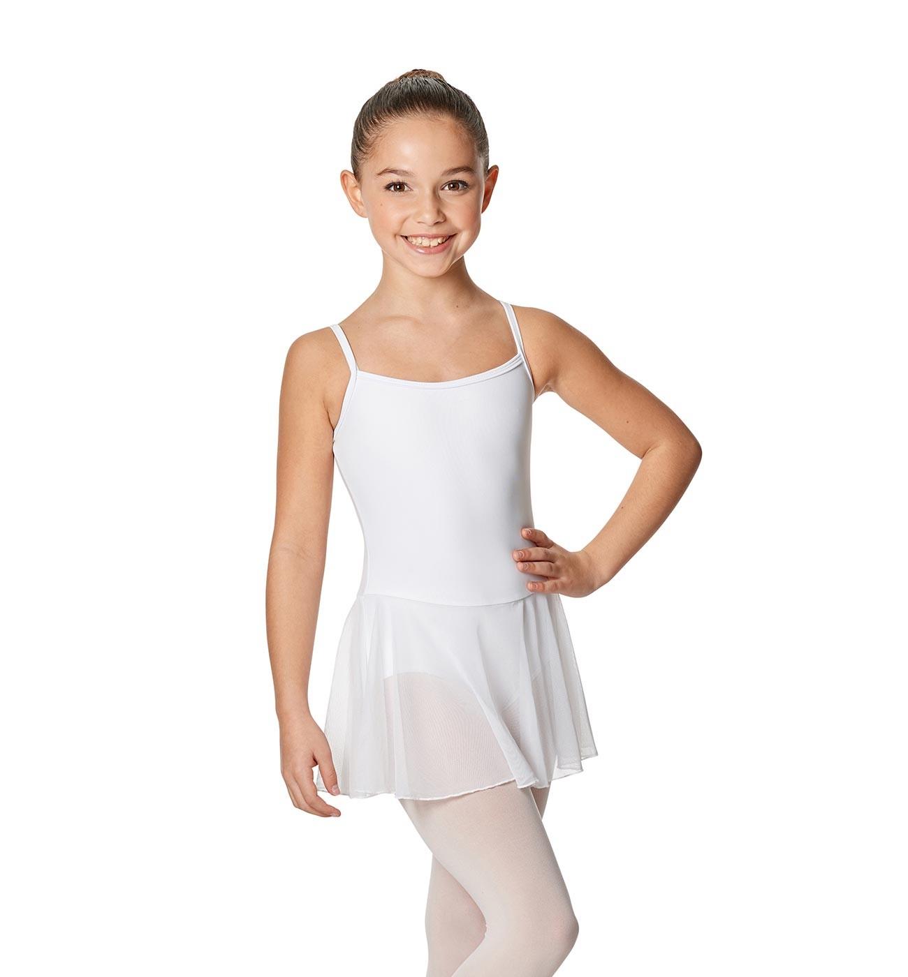 לבן שמלה לילדות Lillian של Lulli כתפיות דקות וחצאית LUB254C