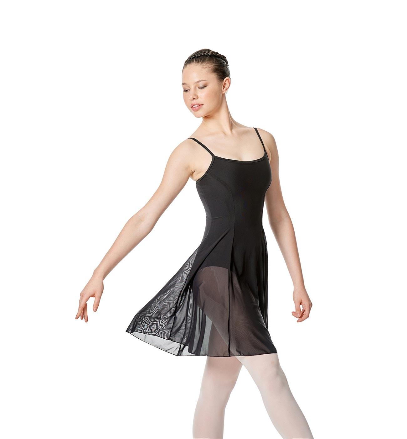 שחור שמלת בלט Natalie של Lulli עם שמלת רשת שקופה LUB255