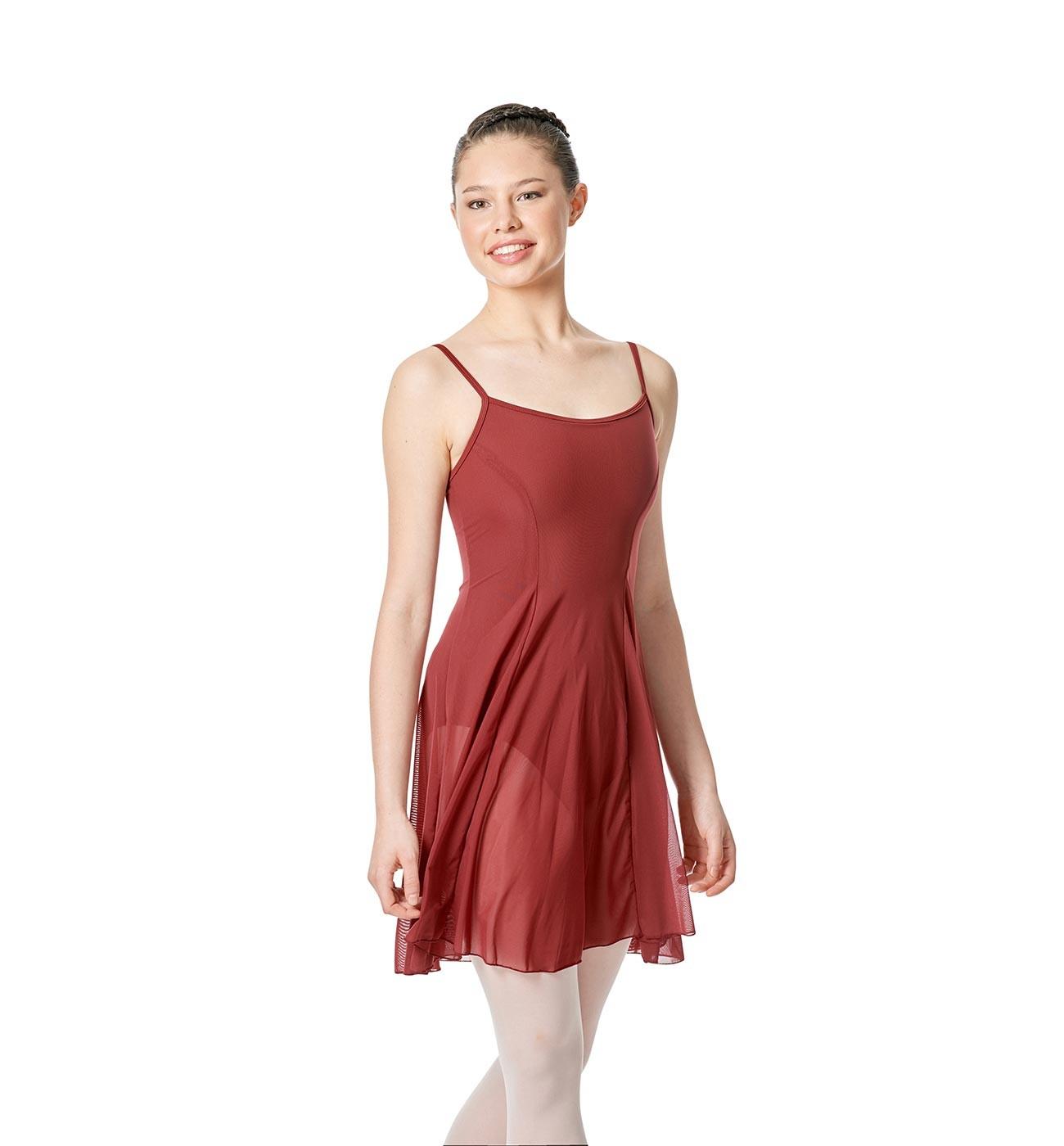 בורדו שמלת בלט Natalie של Lulli עם שמלת רשת שקופה LUB255