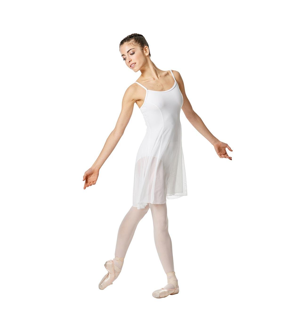 לבן שמלת בלט Natalie של Lulli עם שמלת רשת שקופה LUB255