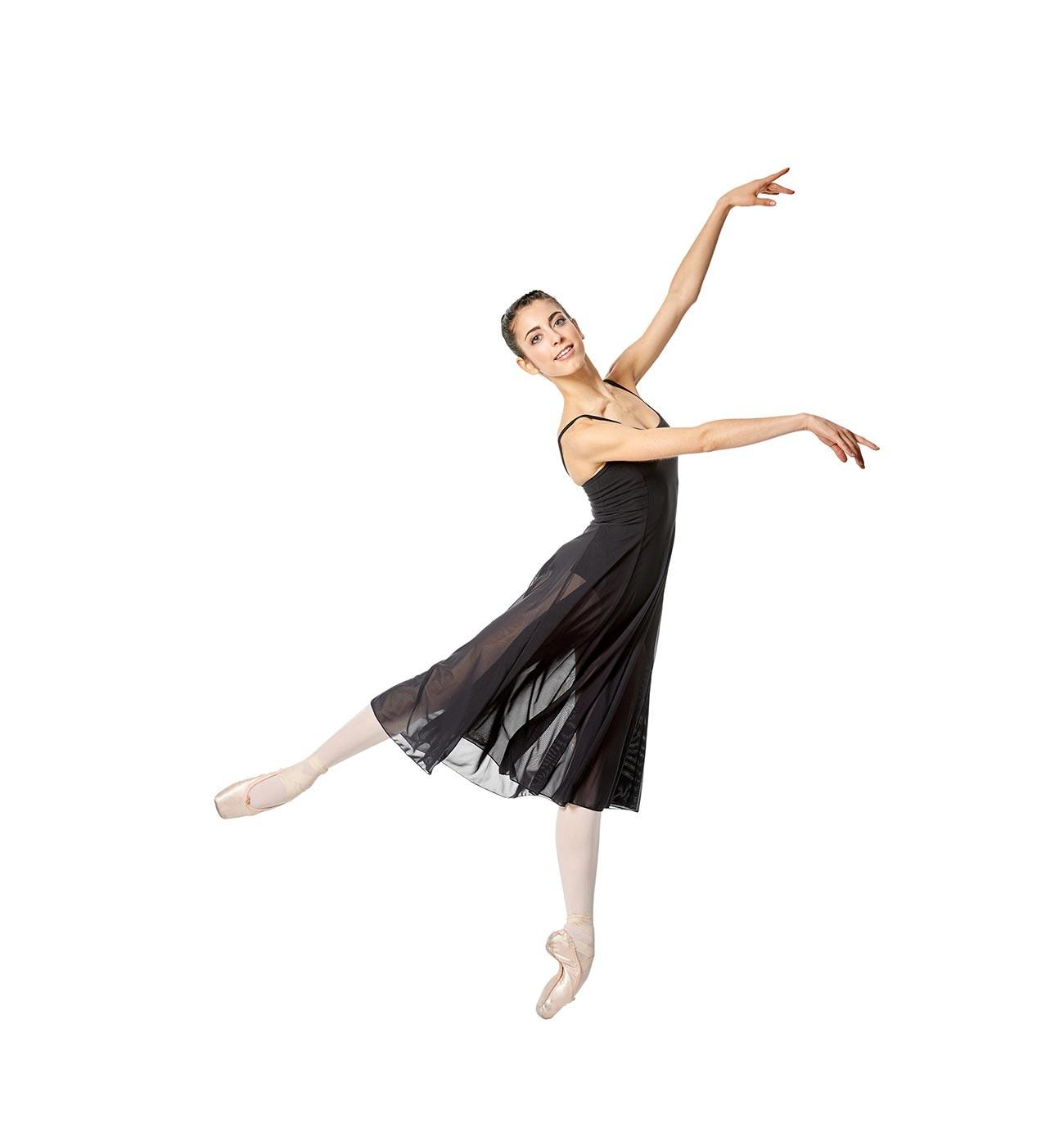 שחור שמלת בלט Claire של Lulli עם רשת ארוכה במיוחד LUB256