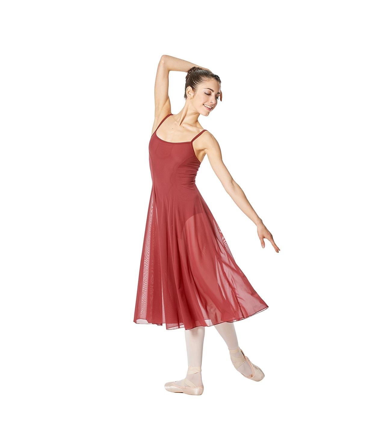 בורדו שמלת בלט Claire של Lulli עם רשת ארוכה במיוחד LUB256
