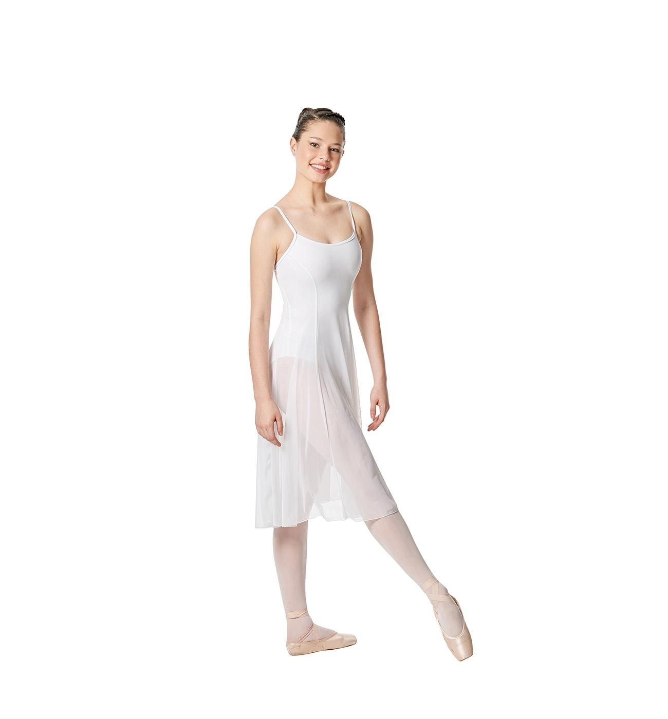 לבן שמלת בלט Claire של Lulli עם רשת ארוכה במיוחד LUB256