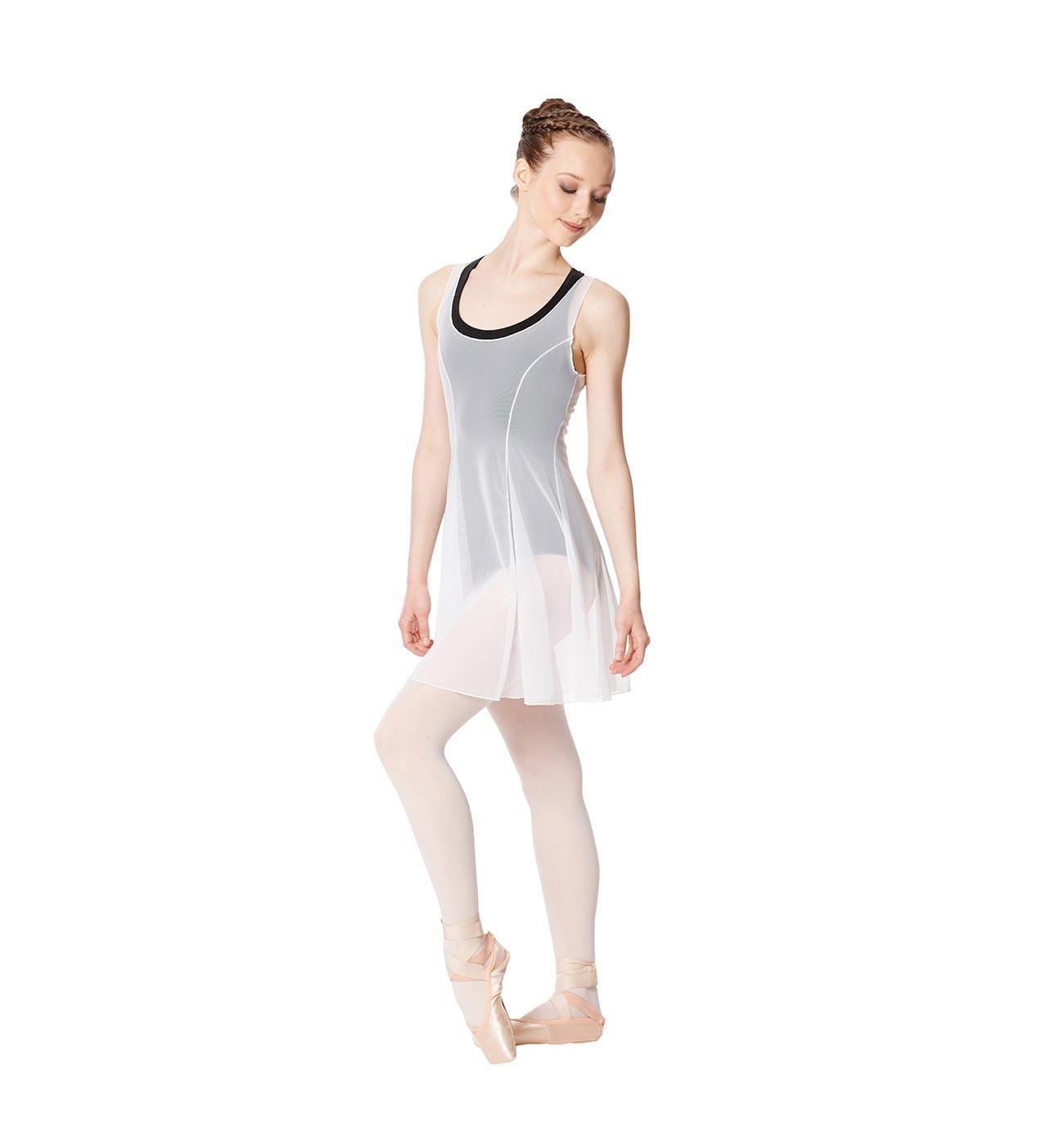 לבן שמלת בלט Kimberly של Lulli מבד רשת עדינה LUB257