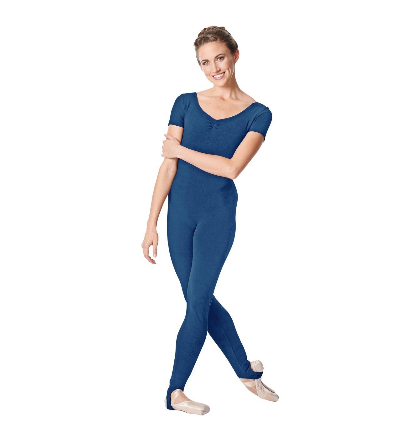 כחול אוברול למחול Winona של Lulli שרוול קצר עם רגלית LUB262