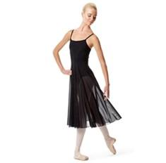 בגד גוף מלייקרה מט עם שמלת רשת מחוברת