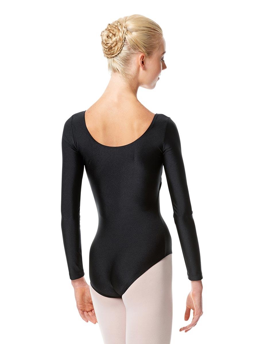 בגד גוף שרוול ארוך עם כיווץ מבד לייקרה מבריק