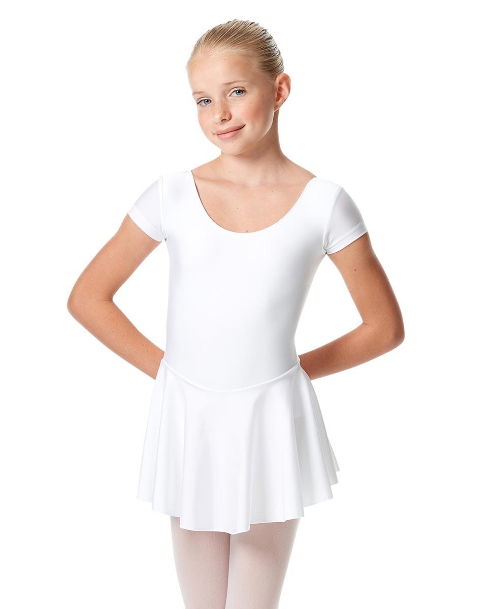 בגד גוף מלייקרה מבריקה עם חצאית מחוברת לילדות