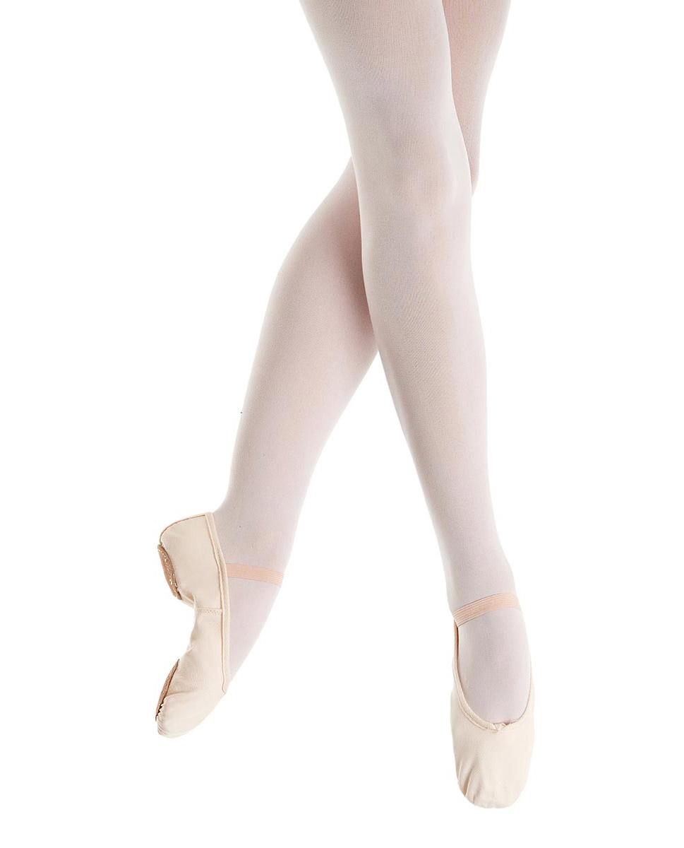 נעלי בלט מפוצלות מבד עם גומיה תפורה