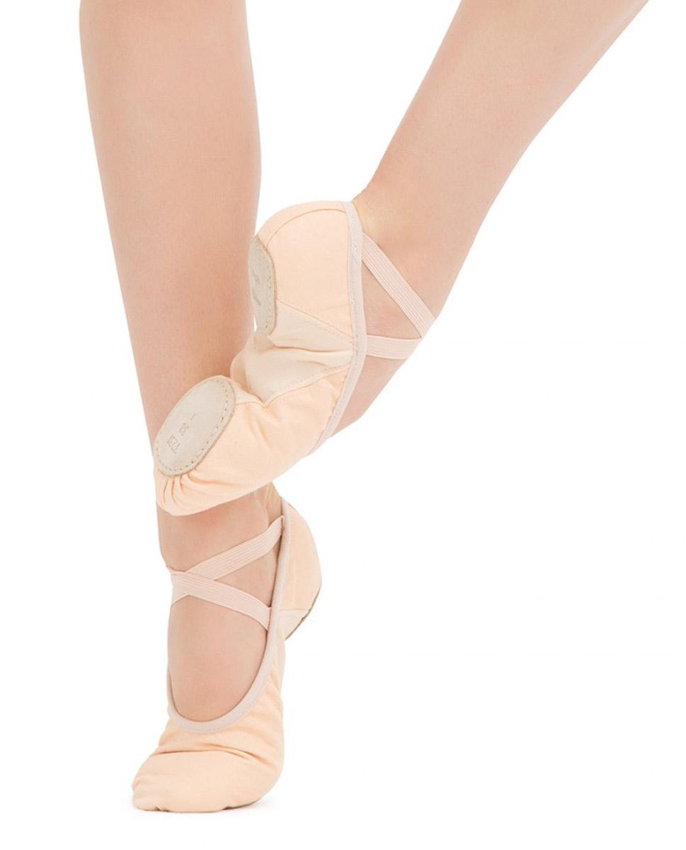 נעל בלט מפוצלת מבד גומי תפור בצד אחד
