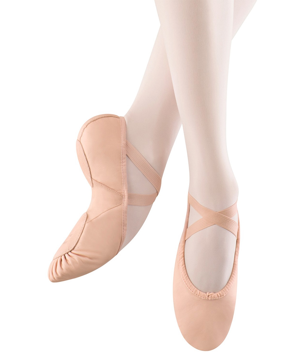 נעלי בלט מעור סוליה מפוצלת וגומי תפור