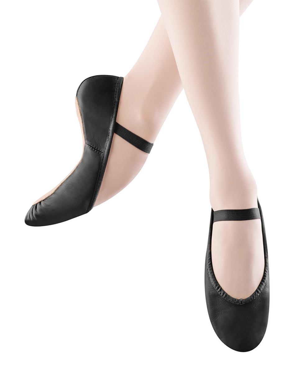 נעלי בלט לילדות מעור, סוליה מלאה וגומי תפור