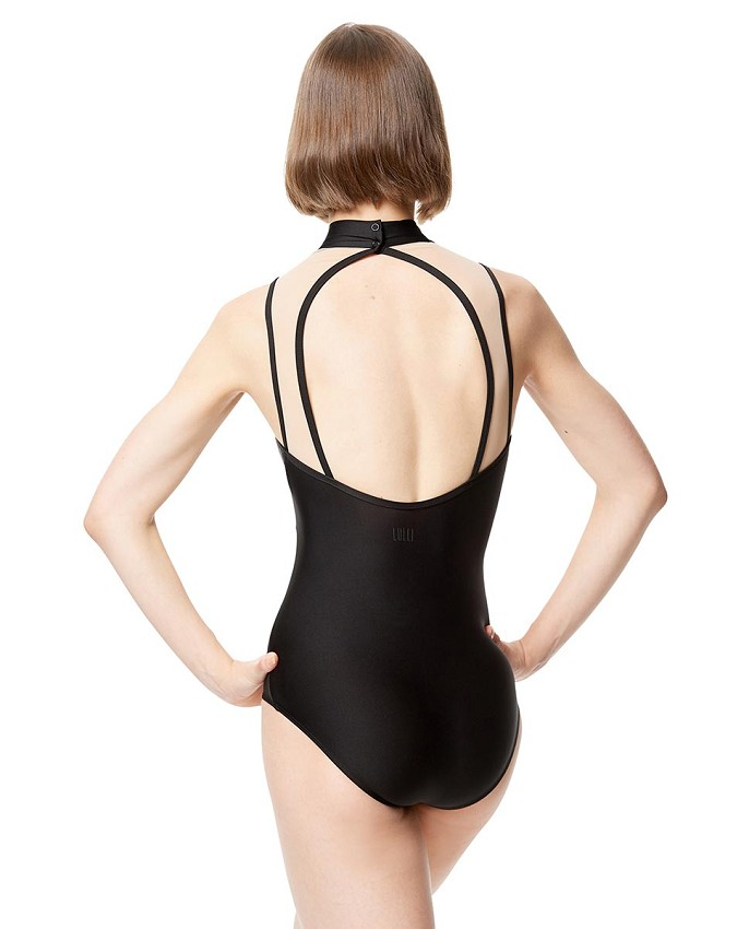 בגד גוף Lia בגזרת צווארון גבוה לנשים עם רשת ורקמה