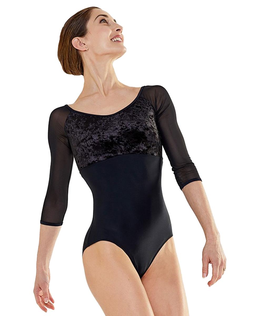 בגד גוף שרוול ארוך של PLUME מבד ליקרה מט וקטיפה