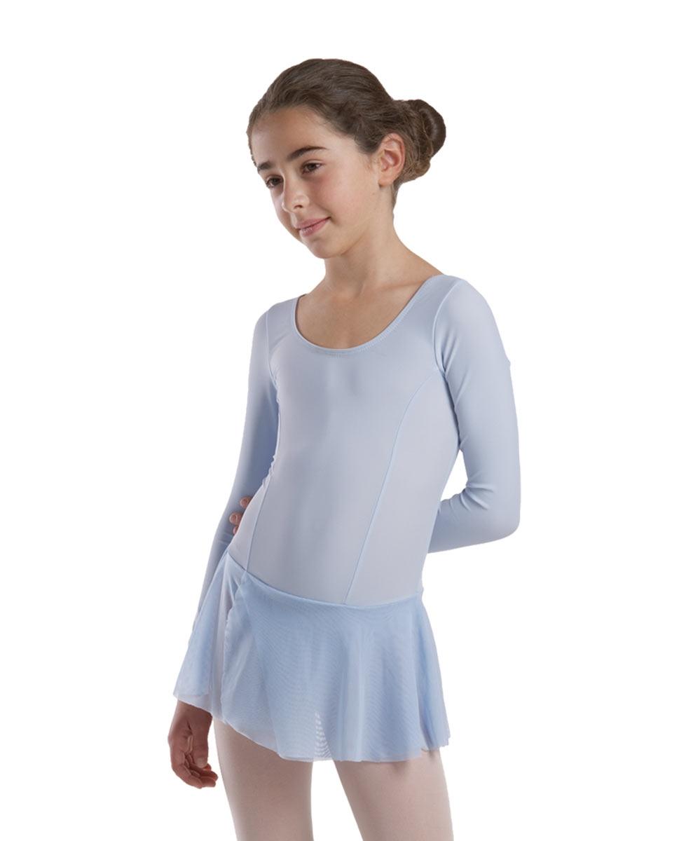 בגד בלט שרוול ארוך עם חצאית מחוברת מלייקרה מט