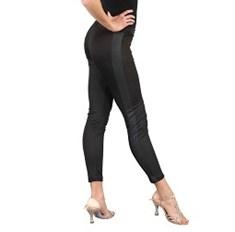 מכנס צמוד בשילוב דמוי עור לנשים