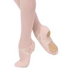 נעלי בלט מפוצלות מבד אלסטי עם גומיות תפורות מראש
