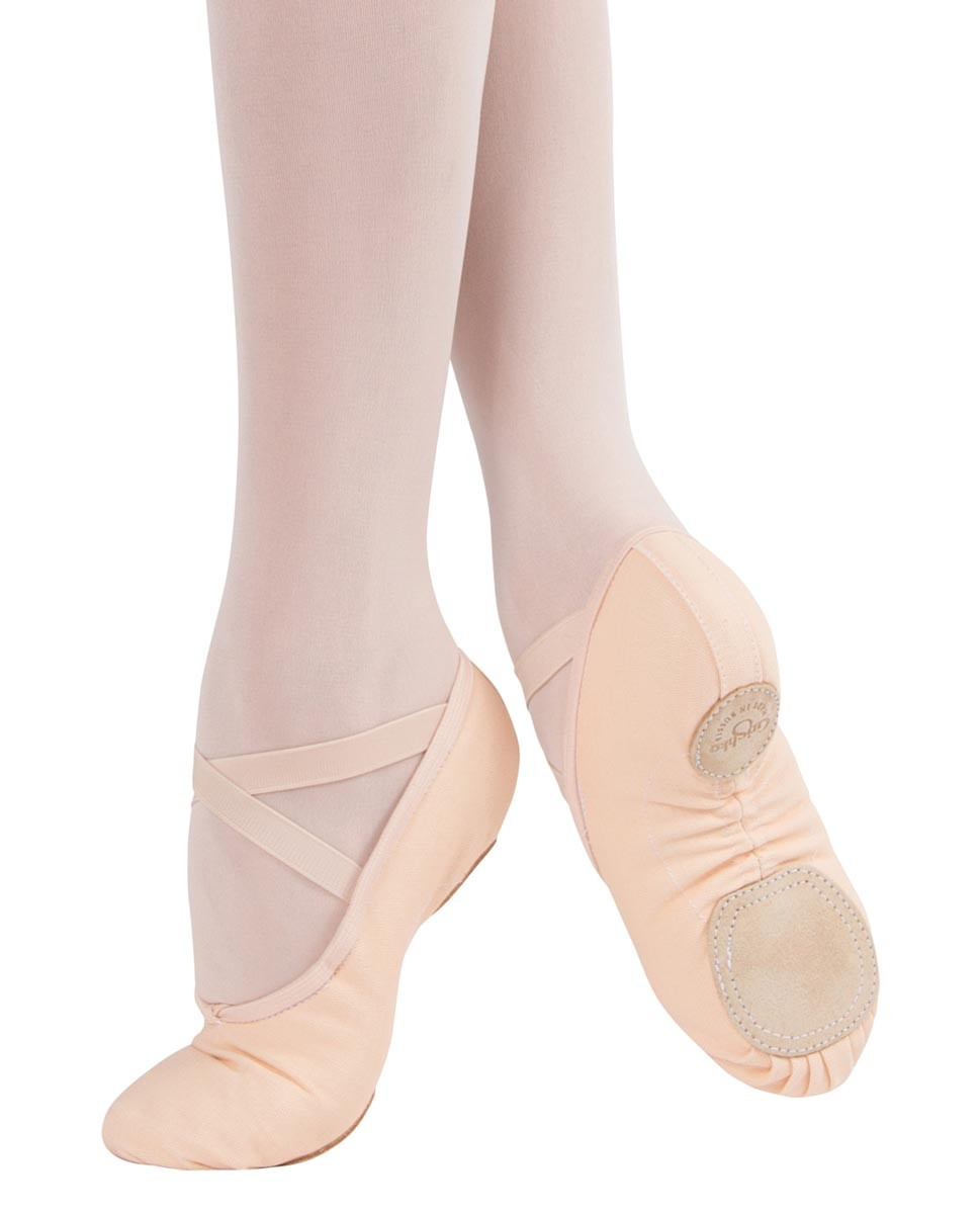 נעלי בלט מפוצלות מבד גומיות תפורות בצד אחד