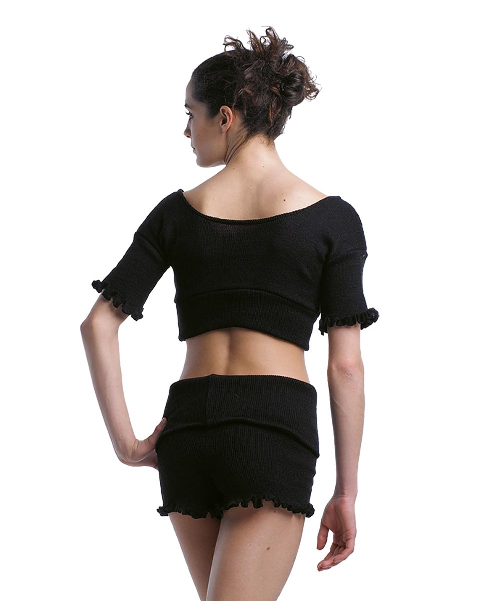 חולצת סריג מצמר אקרילי עם שרוול קצר של פלום